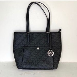 Michael Kors Black Logo Print Jet Set Tote Handbag